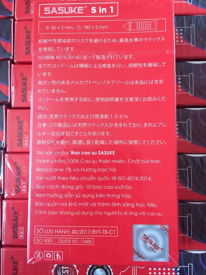 Bao cao su Sasuke Đỏ 5in1 kéo dài thời gian