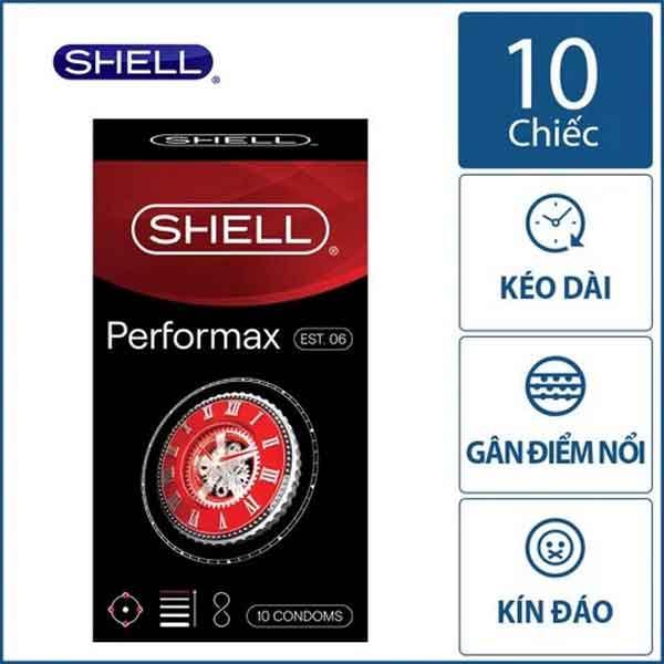 Bao cao su Shell performax 6in1 kéo dài thời gian hộp 10 chiếc