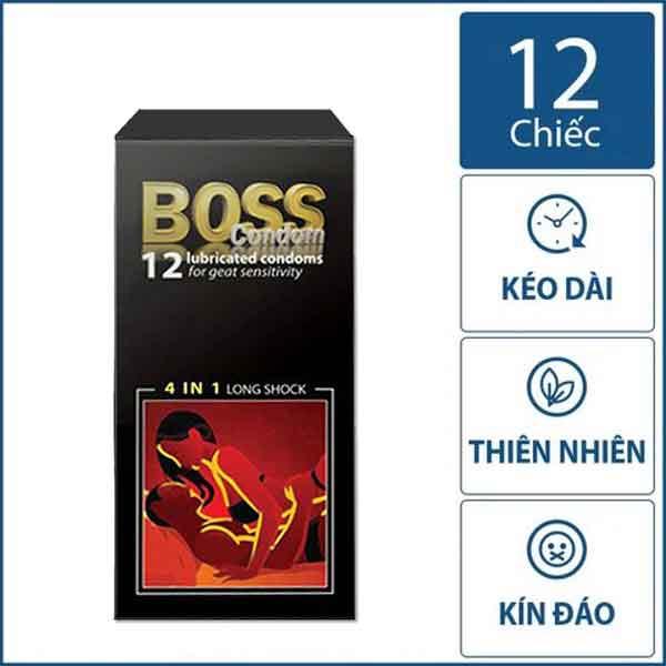 Bao cao su Boss 4in1 long sock hộp 12 chiếc