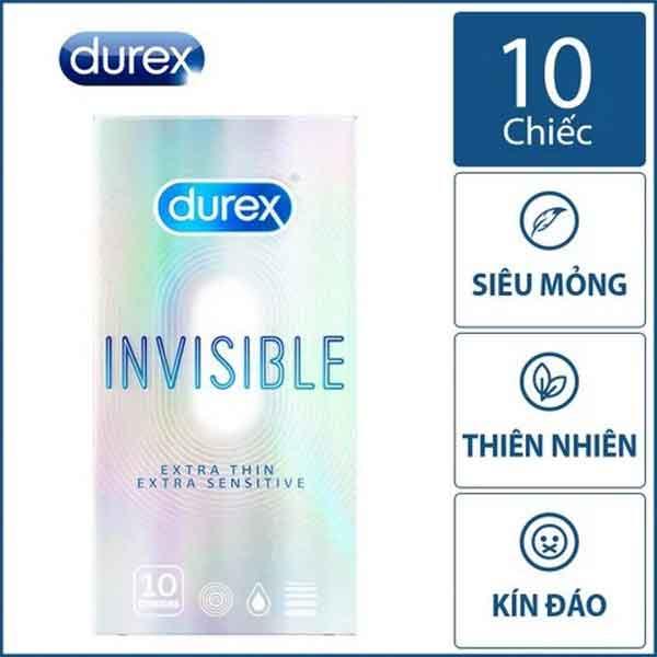 Bao cao su Durex invisible Siêu mỏng hộp 10 chiếc