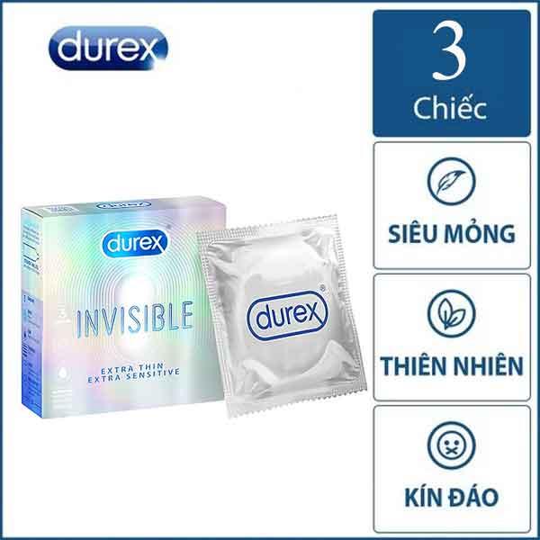 Bao cao su Durex invisible hộp 3 chiếc