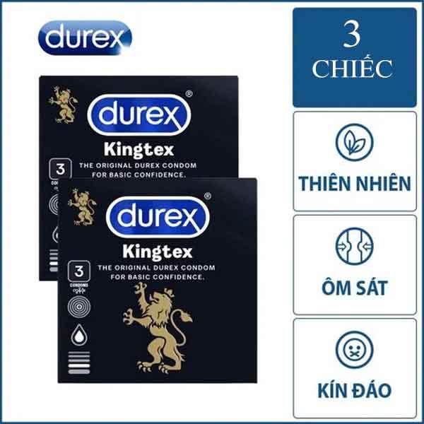 Bao cao su Durex Kingtex size 49mm hộp 3 cái