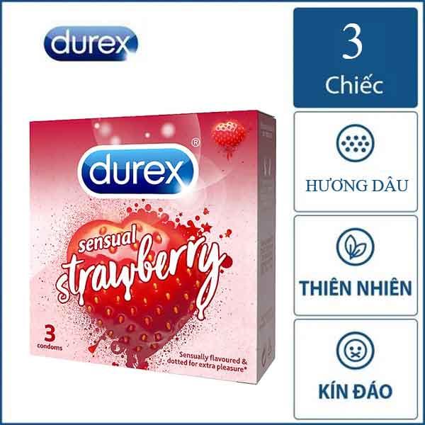Bao cao su Durex Strawberry hương dâu hộp 3 chiếc