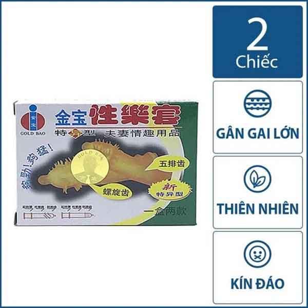 Bao cao su Gold Gai- các đường gai ở đầu hộp 2 chiếc