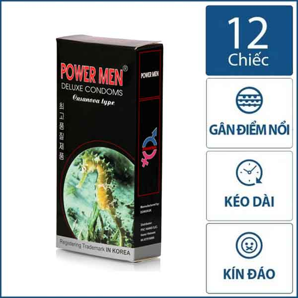 Bao cao su Power men Cá ngựa đen 4in1 hộp 12 chiếc