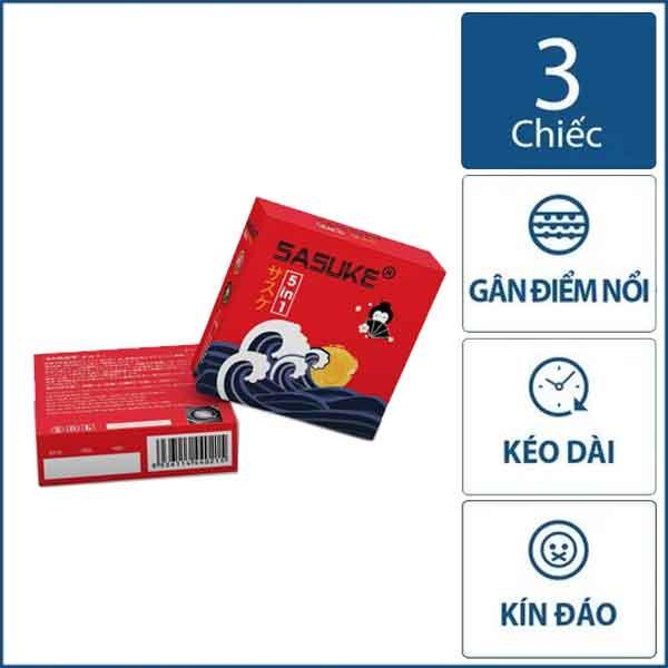 Bao cao su Sasuke Đỏ 5in1 kéo dài thời gian hộp 3 chiếc