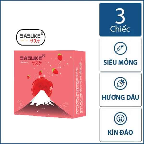 Bao cao su Sasuke hương Dâu siêu mỏng hộp 3 chiếc