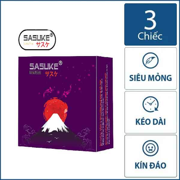 Bao cao su Sasuke Tím Longsock hộp 3 chiếc