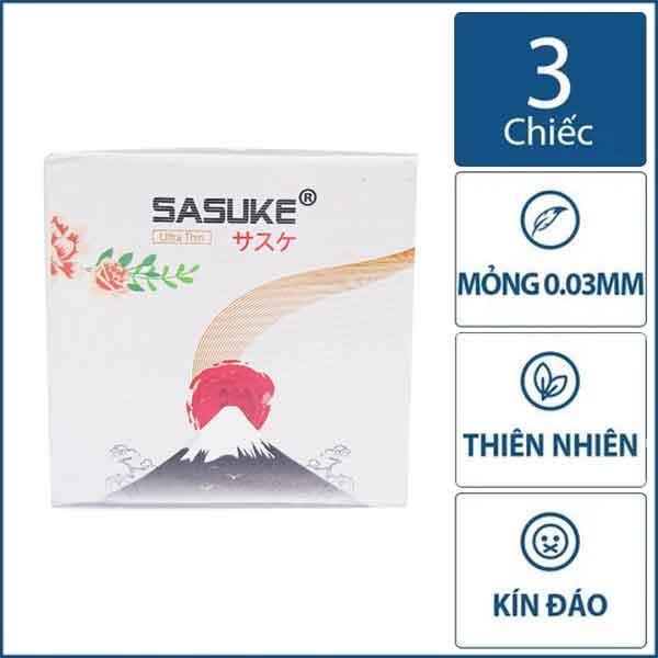 Bao cao su Sasuke Trắng ultra thin hộp 3 chiếc