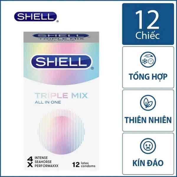 Bao cao su Shell triple mix mát lạnh, kéo dài