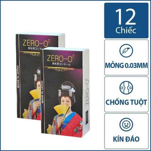 Bao cao su Zero O2 siêu mỏng nhật bản hộp 12 chiếc