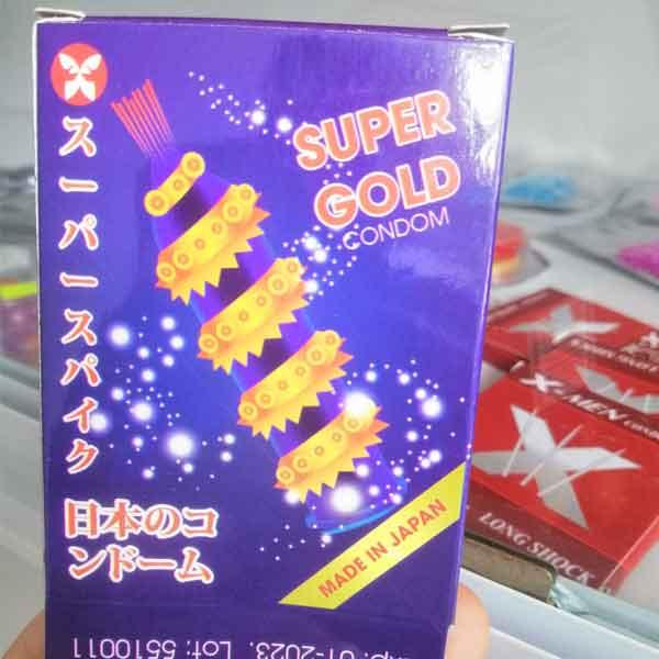bao cao su siêu gai super gold nhật bản