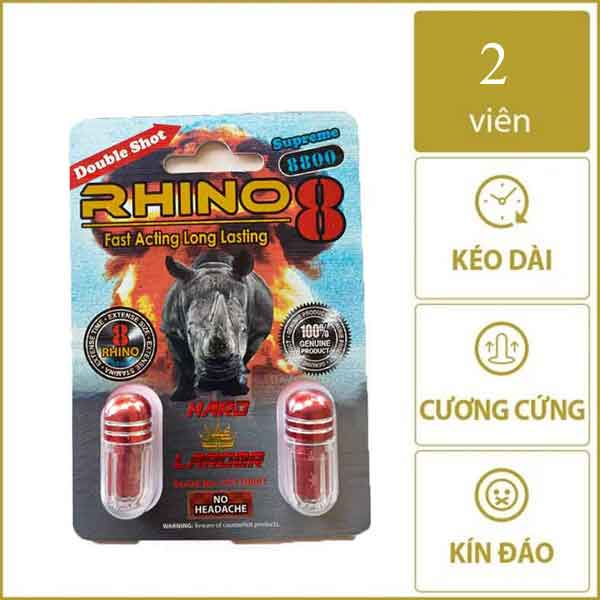 Thuốc cương dương Rhino 8 supreme 8800 của Mỹ-2 viên