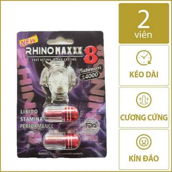 Thảo dược của mỹ Rhino maxxx 8 Platimum 14000- 2 viên