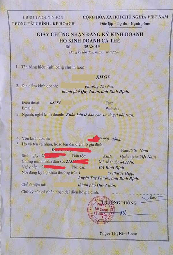 Giấy phép đăng kí kinh doanh Bao cao su Chính hiệu nè