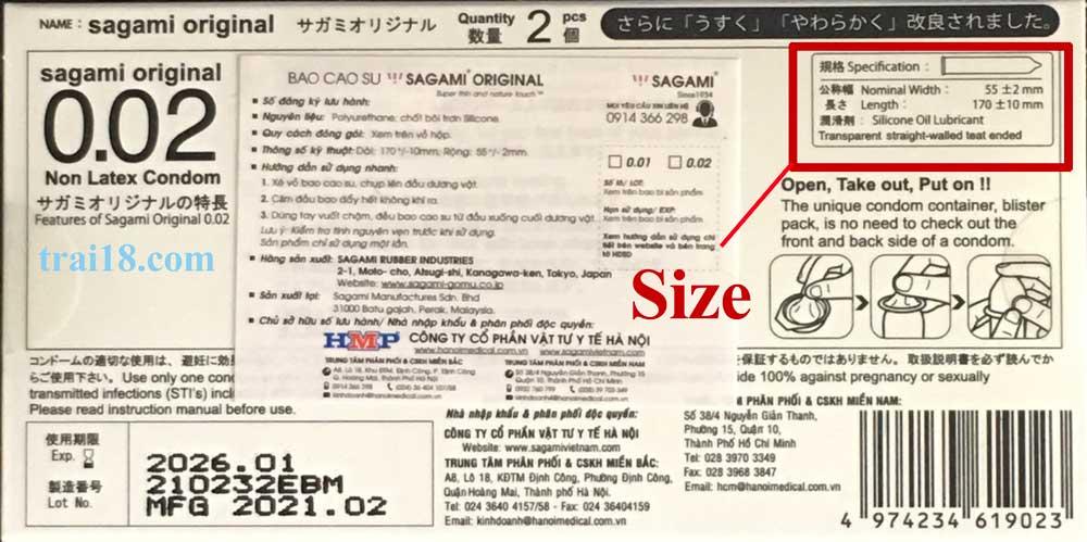 Size bao cao su được ghi ở mặt sau hộp bao